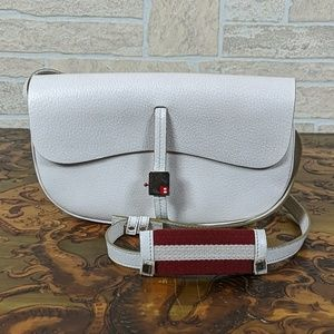 Bally Crossbody Buckle White Unique Leather